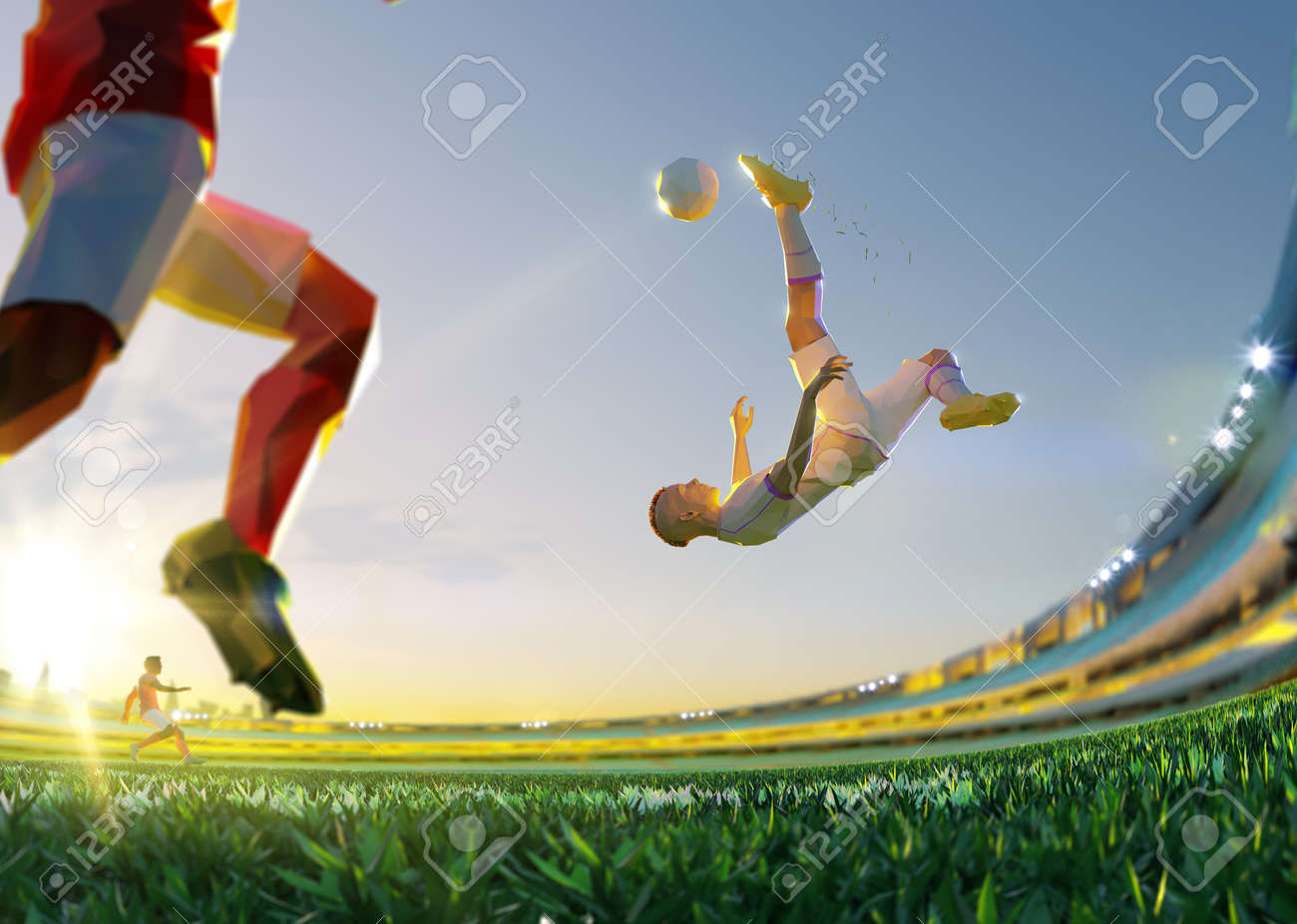 Soccer player in attack. polygon style 3d render illustration - 156788253