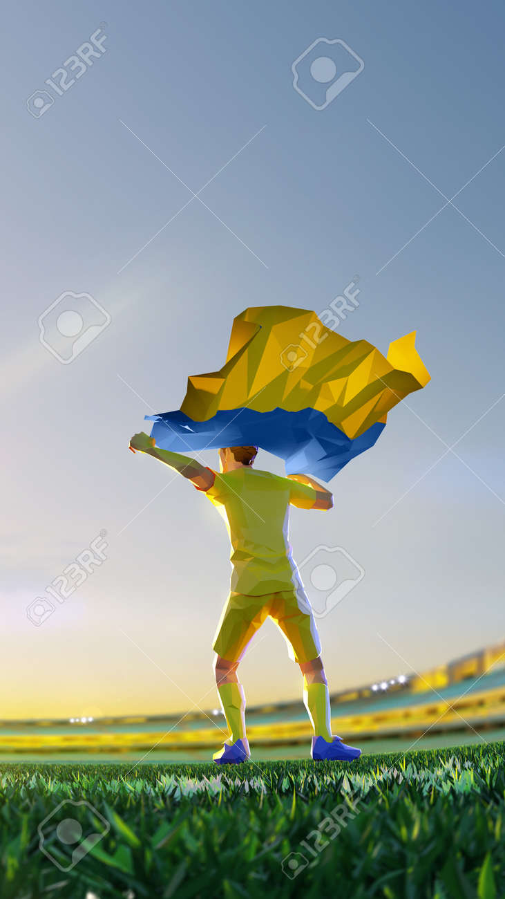 Soccer player after winner game championship hold flag of Wales. polygon style 3d render illustration - 156089840
