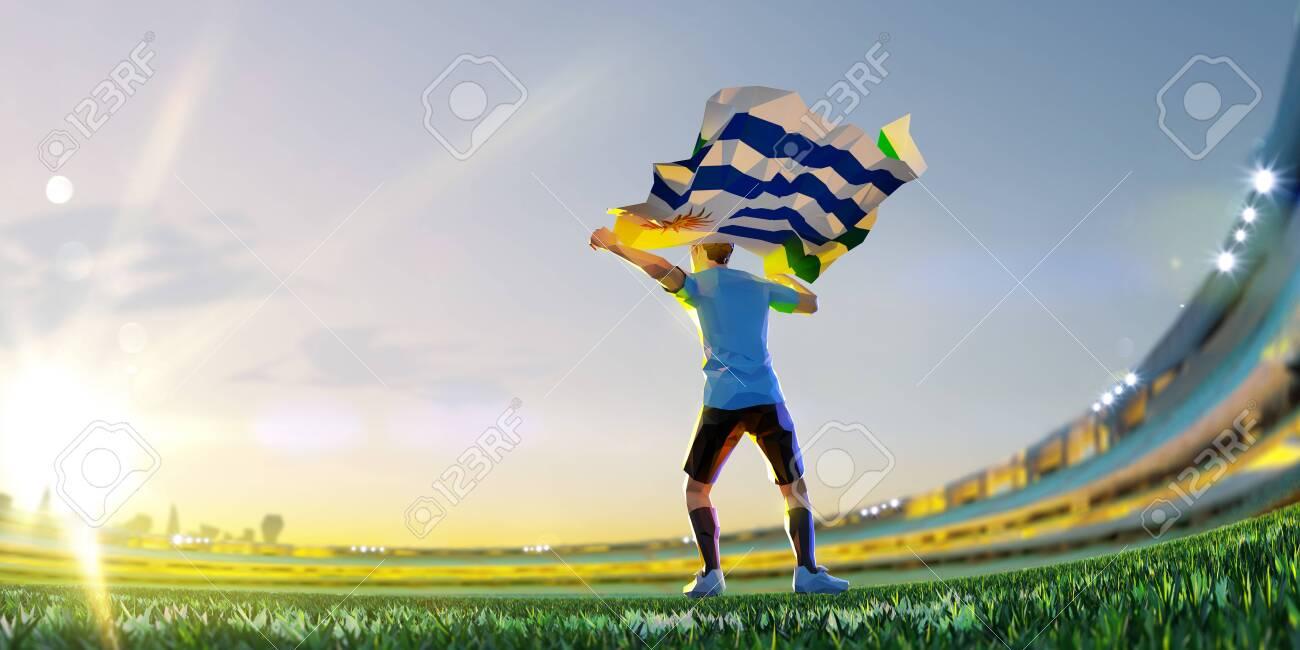 Soccer player after winner game championship hold flag of Uruguay . polygon style 3d render illustration - 155945191