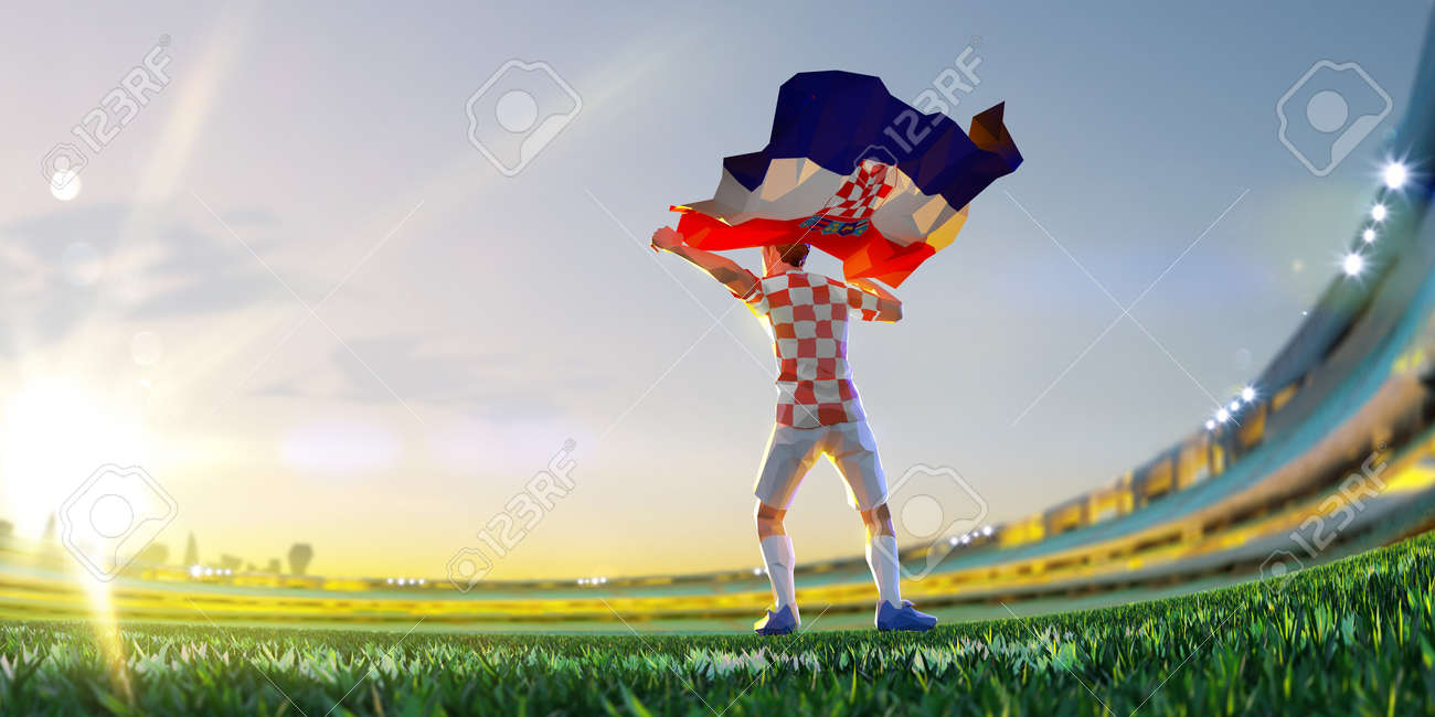 Soccer player after winner game championship hold flag of Croatia. polygon style 3d render illustration - 155945193
