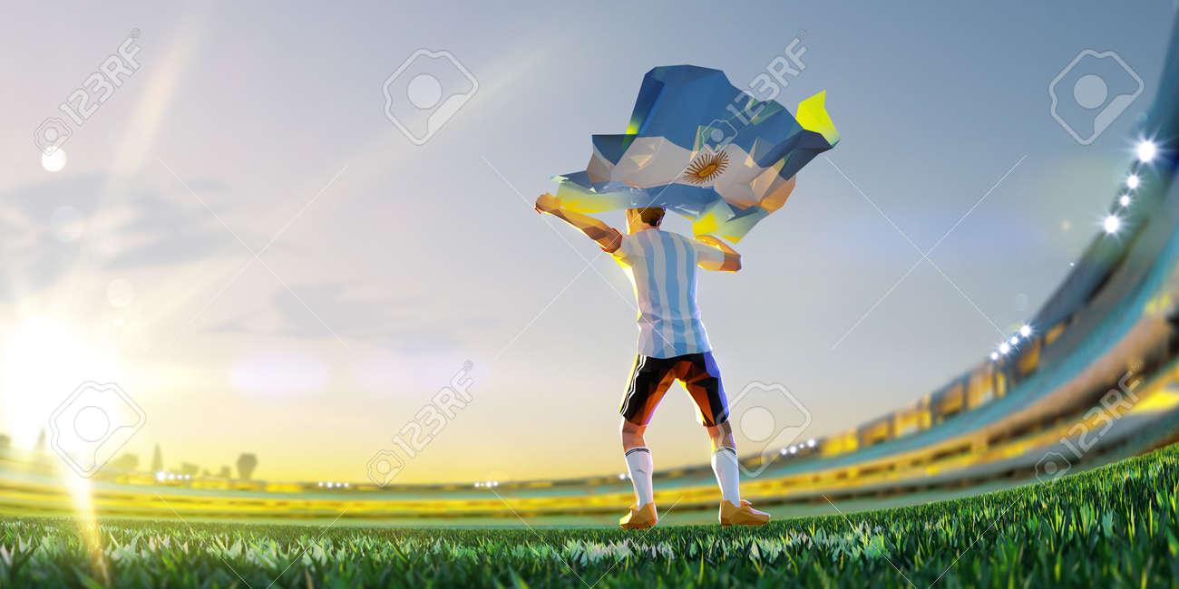 Soccer player after winner game championship hold flag of Argentina. polygon style 3d render illustration - 155945194