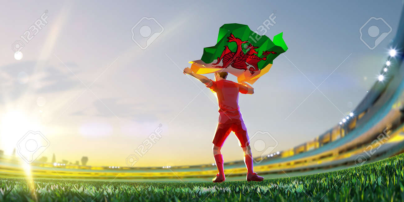 Soccer player after winner game championship hold flag of Wales. polygon style 3d render illustration - 155945197