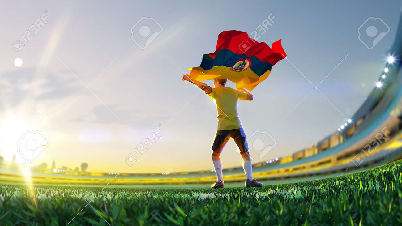 Soccer player after winner game championship hold flag of Columbia polygon style 3d render illustration - 155945199