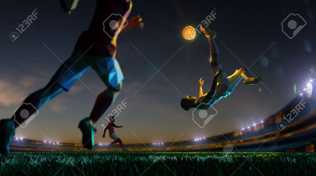 Soccer player in attack shining ball in night ground . polygon style 3d render illustration - 155945200
