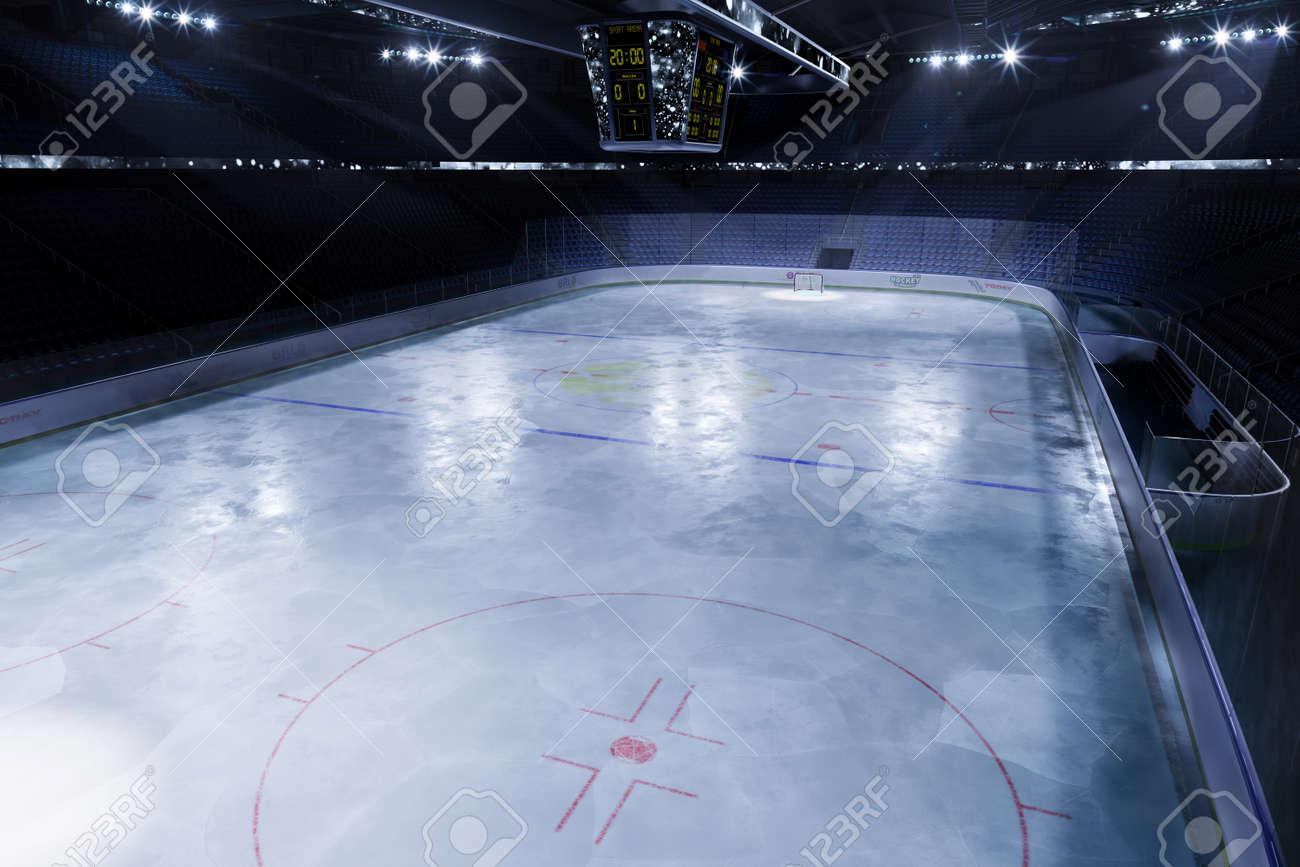 empty hockey arena in 3d render illustration - 157639433