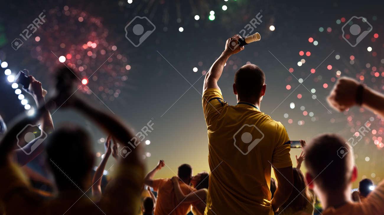 Fans celebrate in Stadium Arena night fireworks - 157466790