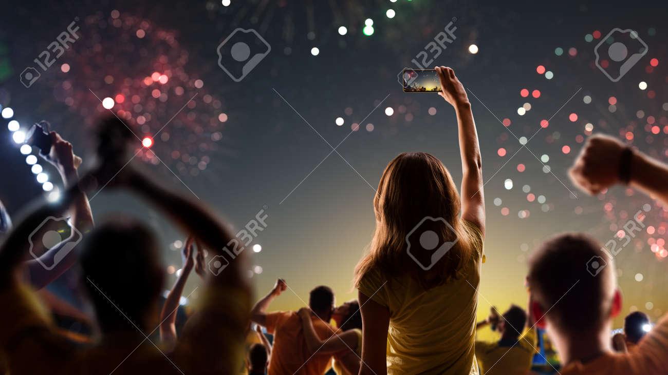 Fans celebrate in Stadium Arena night fireworks - 157466467