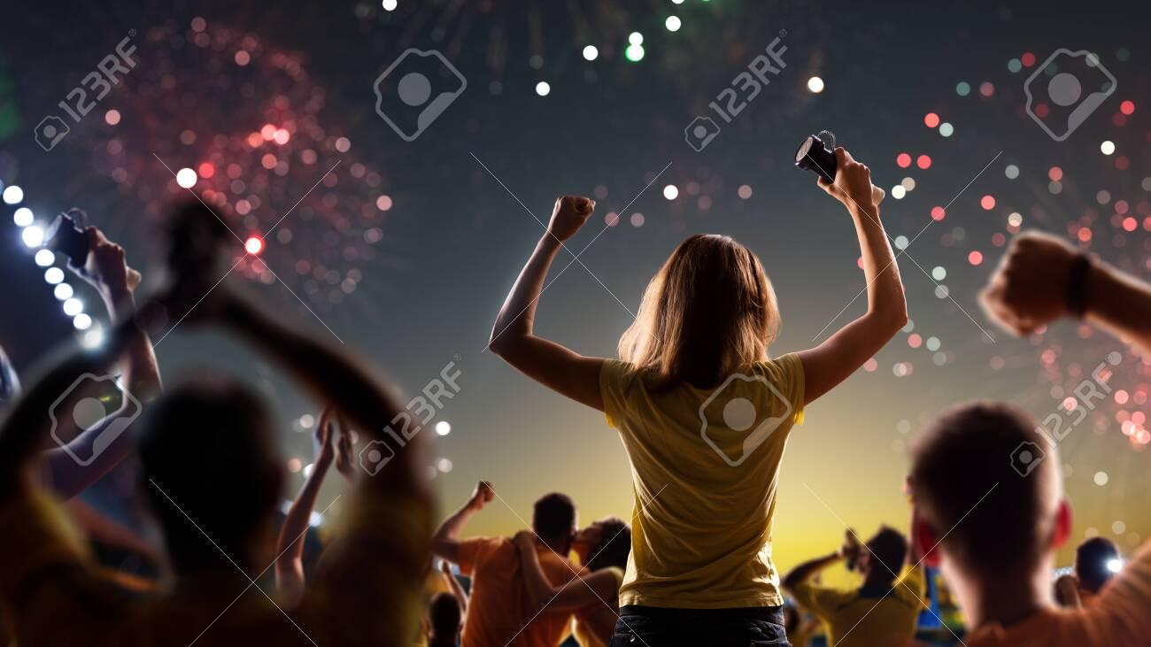 Fans celebrate in Stadium Arena night fireworks - 157466863