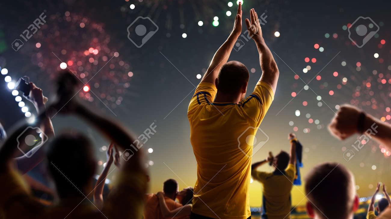 Fans celebrate in Stadium Arena night fireworks - 157466713