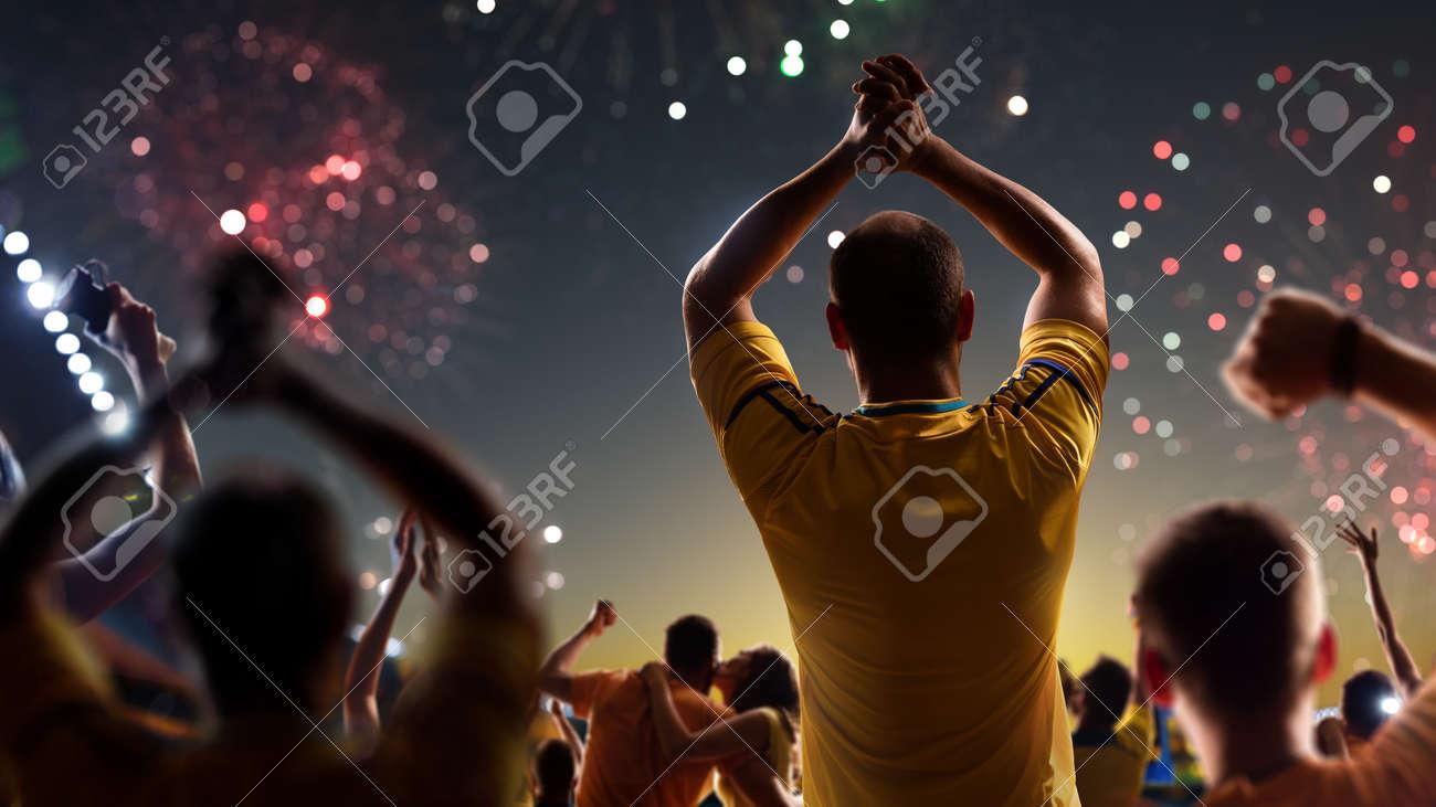Fans celebrate in Stadium Arena night fireworks - 157466842