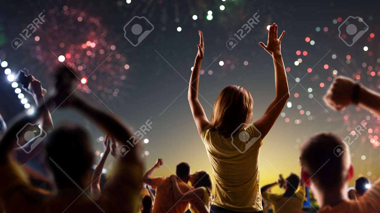 Fans celebrate in Stadium Arena night fireworks - 157291978