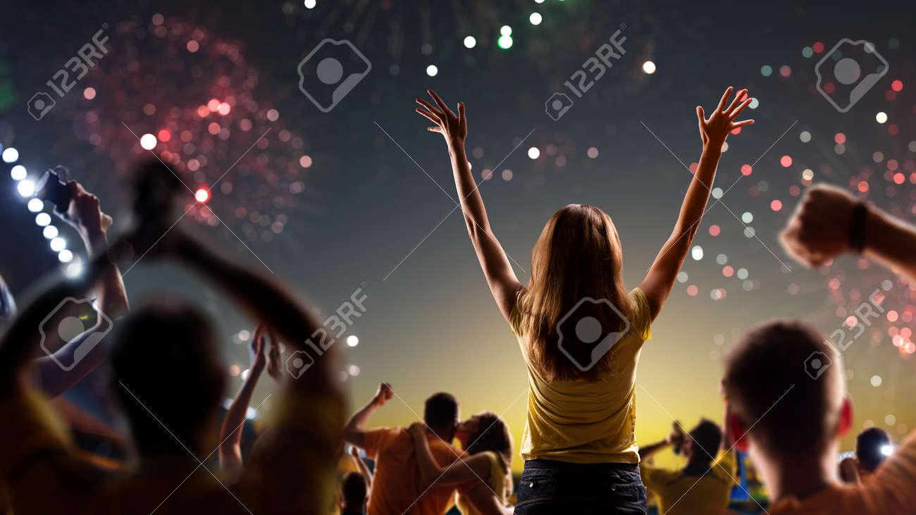 Fans celebrate in Stadium Arena night fireworks - 157292098