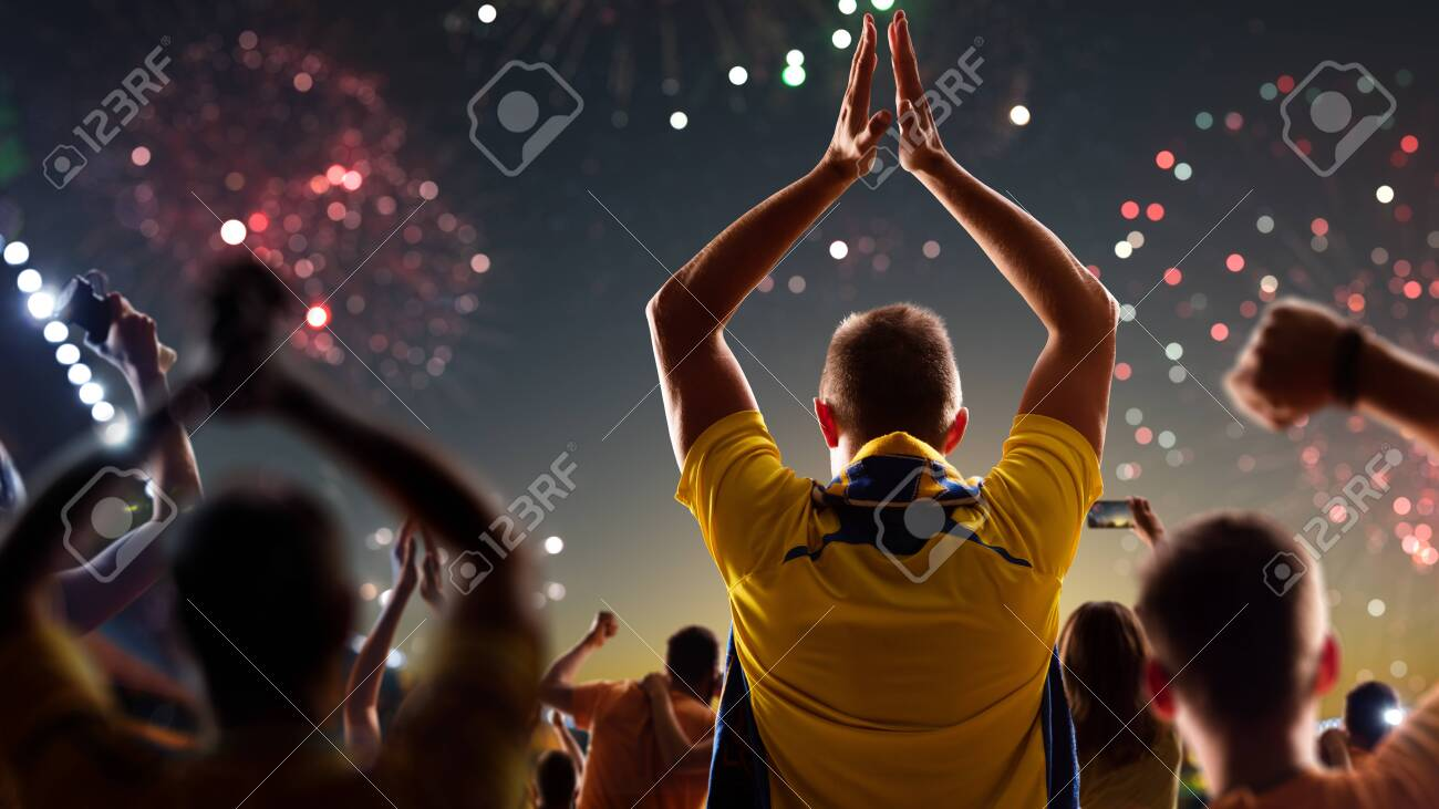 Fans celebrate in Stadium Arena night fireworks - 157292125