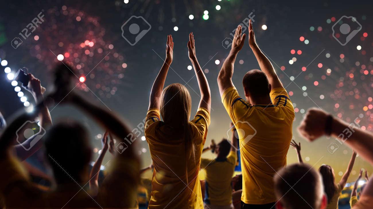 Fans celebrate in Stadium Arena night fireworks - 157292009