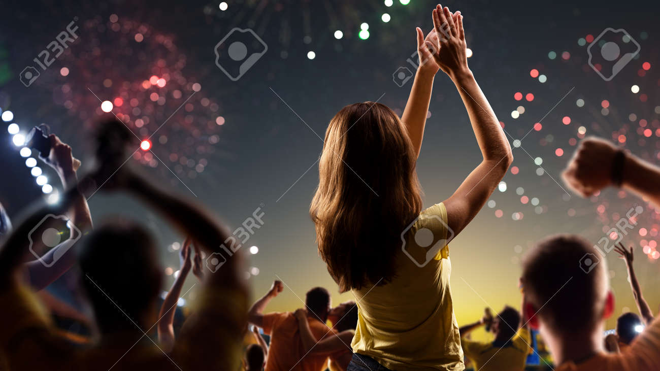 Fans celebrate in Stadium Arena night fireworks - 157291890