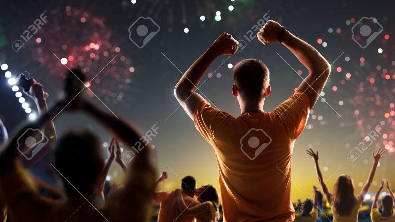 Fans celebrate in Stadium Arena night fireworks - 157292010