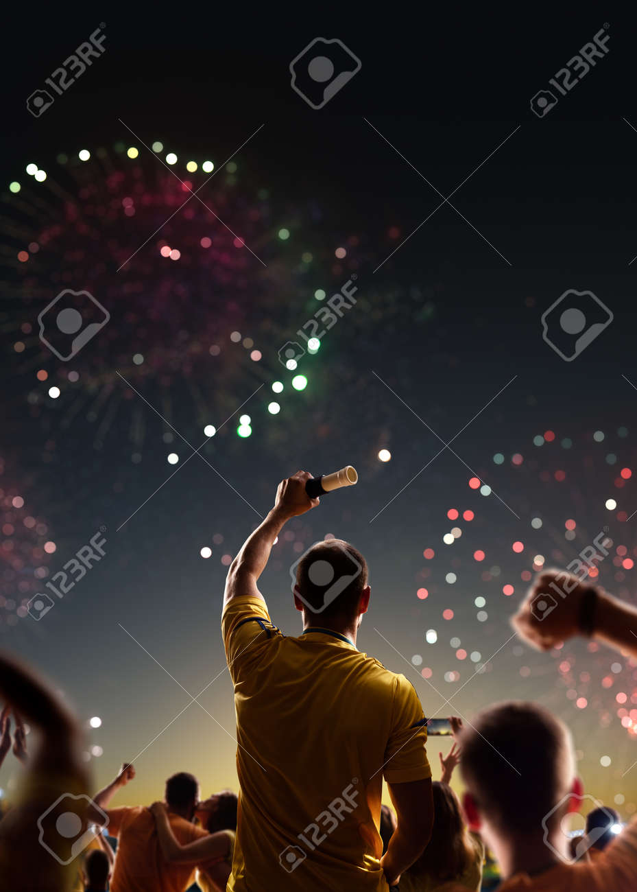Fans celebrate in Stadium Arena night fireworks - 157292229