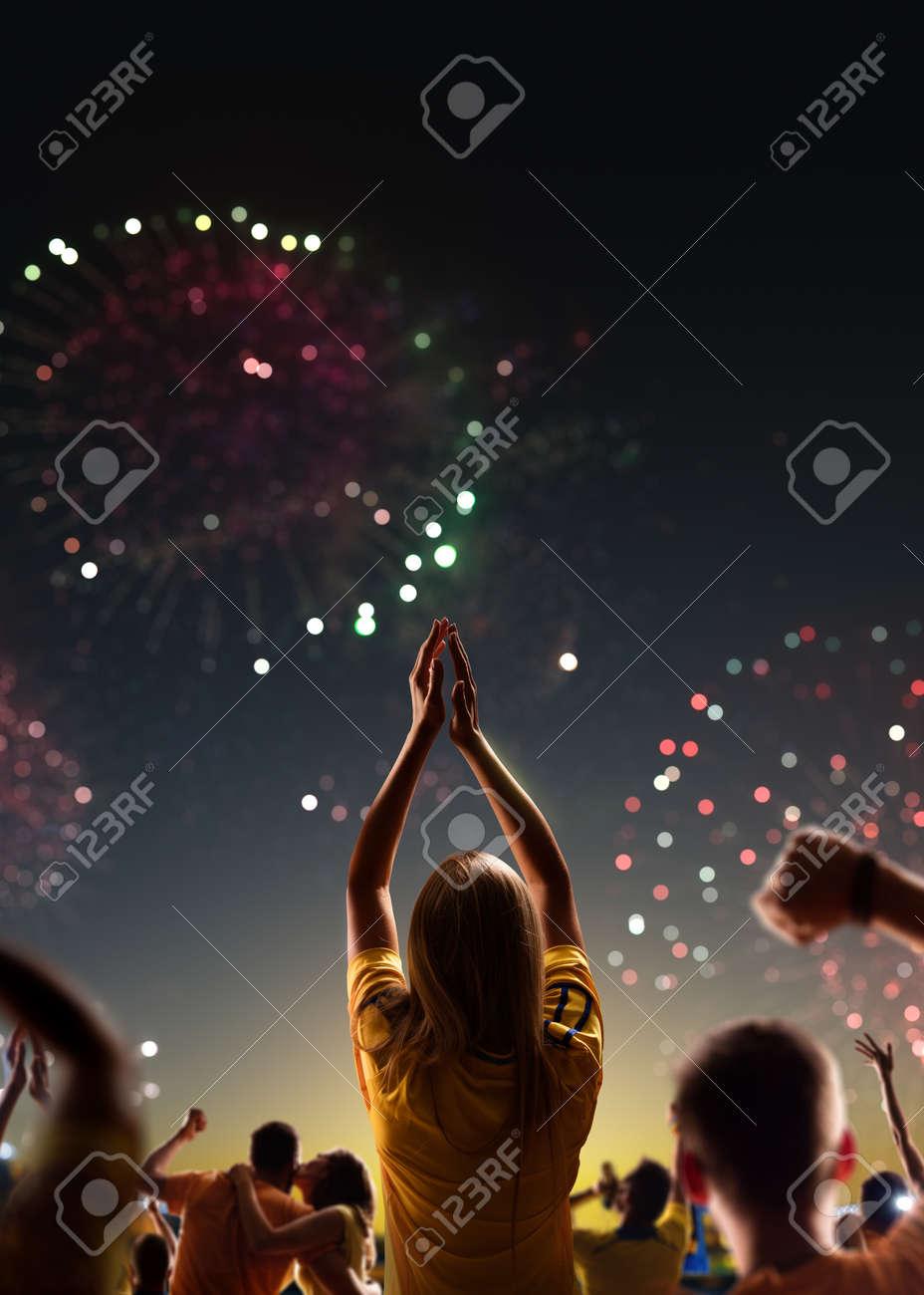 Fans celebrate in Stadium Arena night fireworks - 157252602