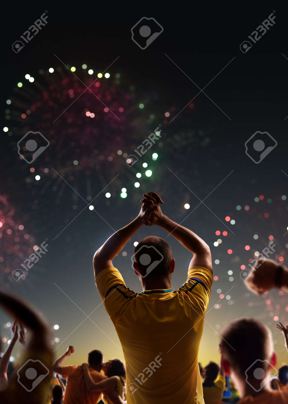 Fans celebrate in Stadium Arena night fireworks - 157252578