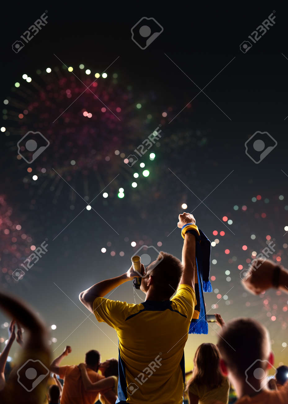 Fans celebrate in Stadium Arena night fireworks - 157252687