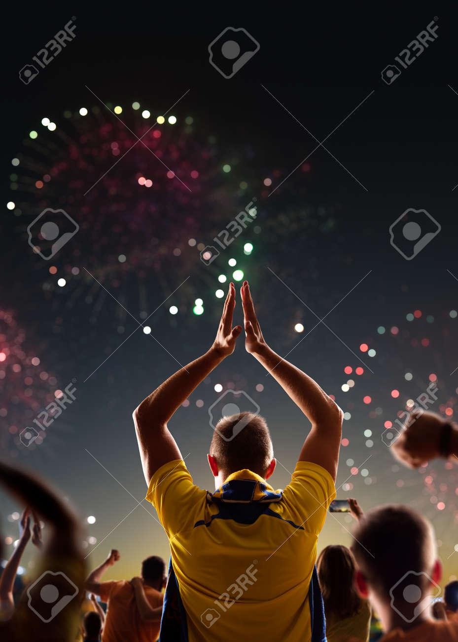 Fans celebrate in Stadium Arena night fireworks - 157252500