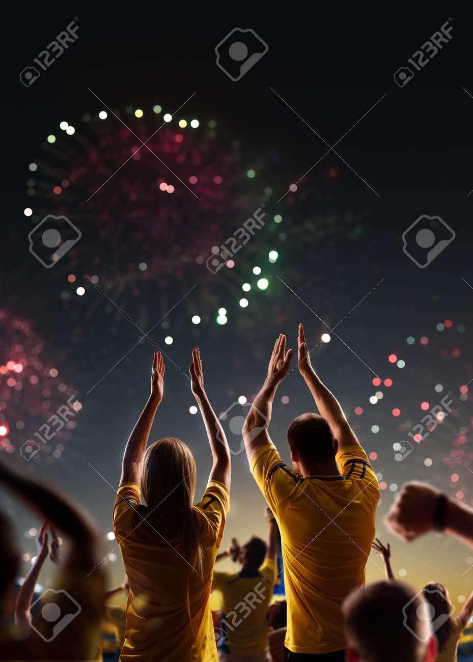 Fans celebrate in Stadium Arena night fireworks - 157252528
