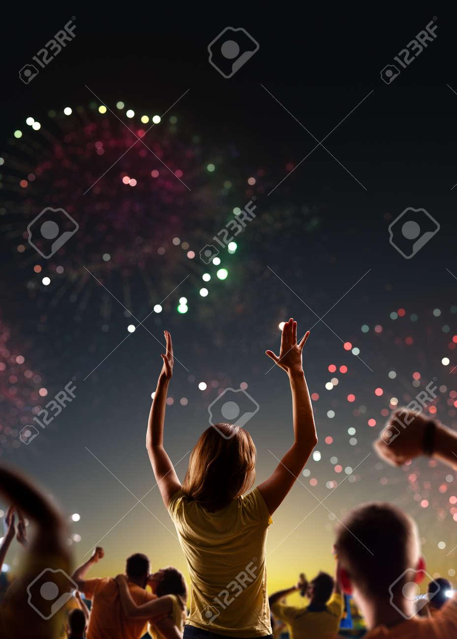 Fans celebrate in Stadium Arena night fireworks - 157291882