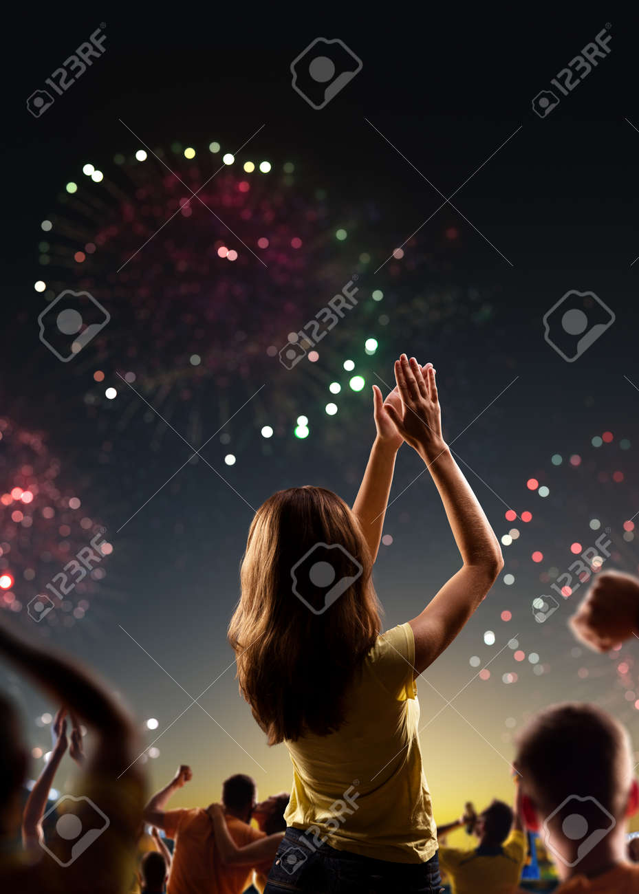 Fans celebrate in Stadium Arena night fireworks - 157252344