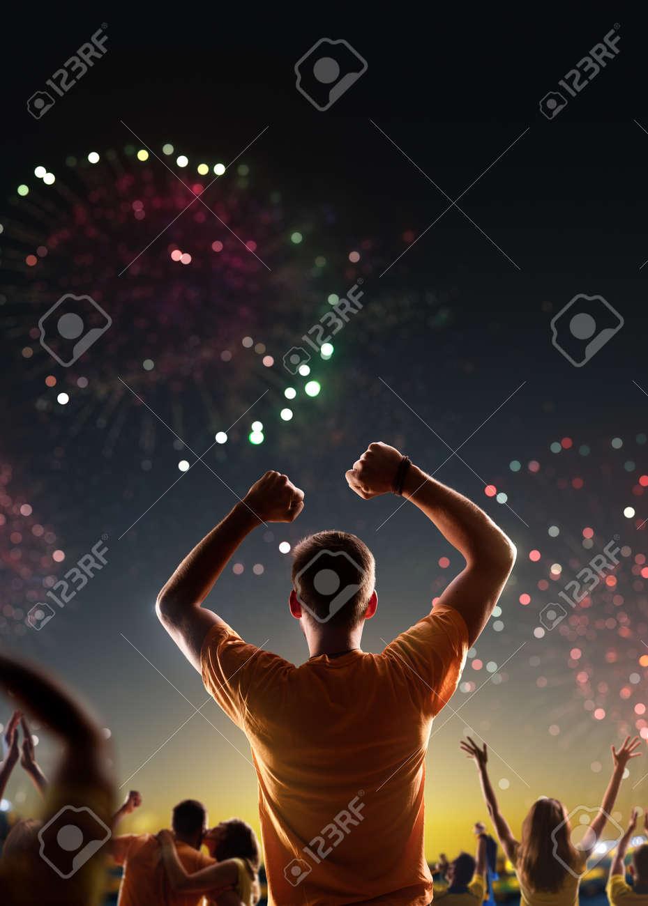Fans celebrate in Stadium Arena night fireworks - 158199233
