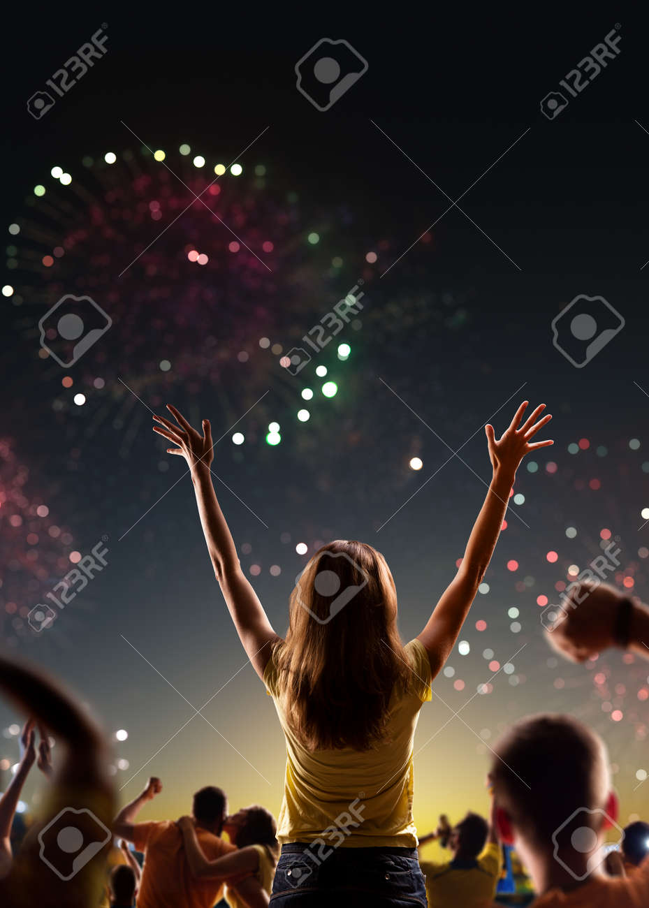 Fans celebrate in Stadium Arena night fireworks - 157252388
