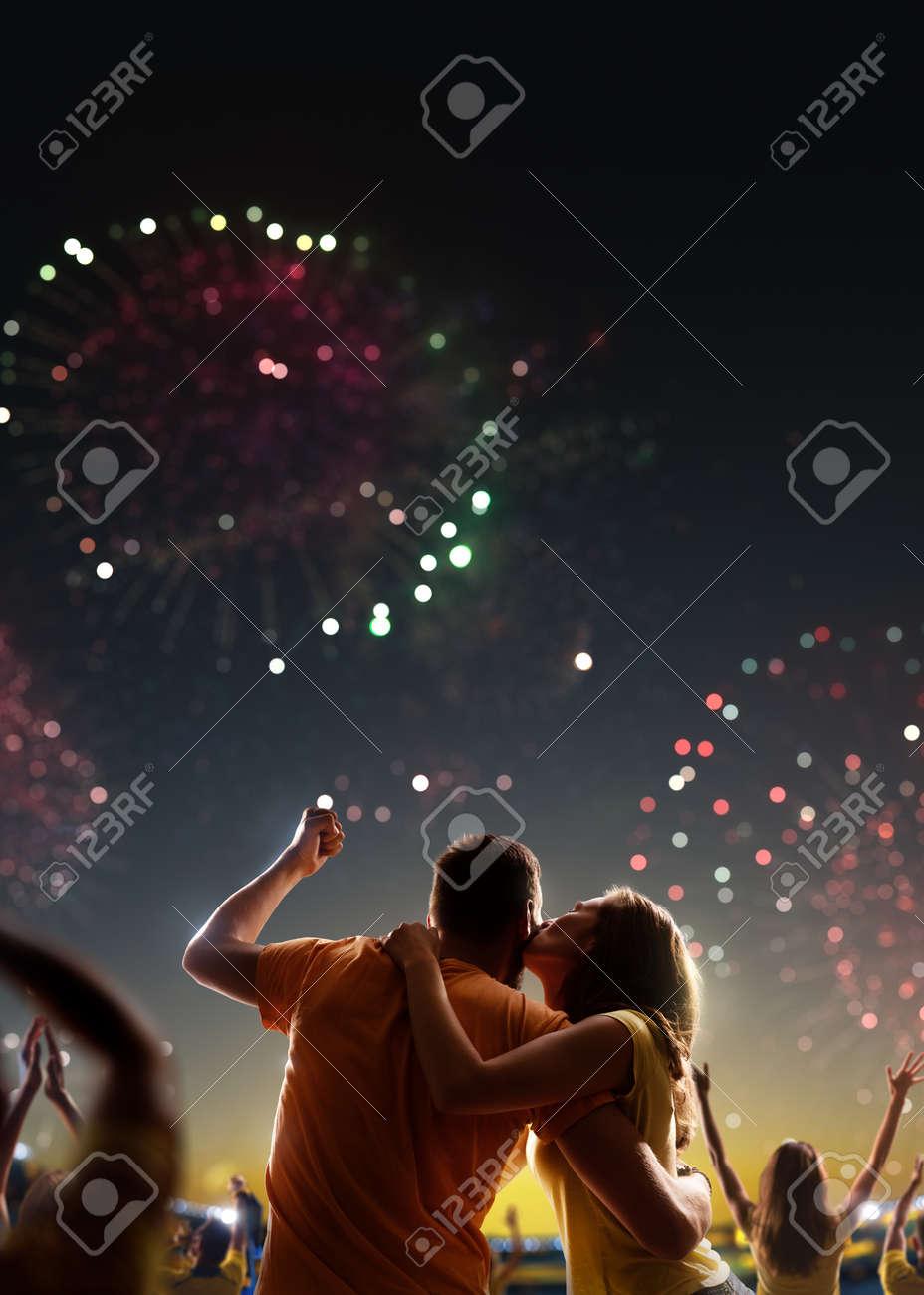 Fans celebrate in Stadium Arena night fireworks - 157252969