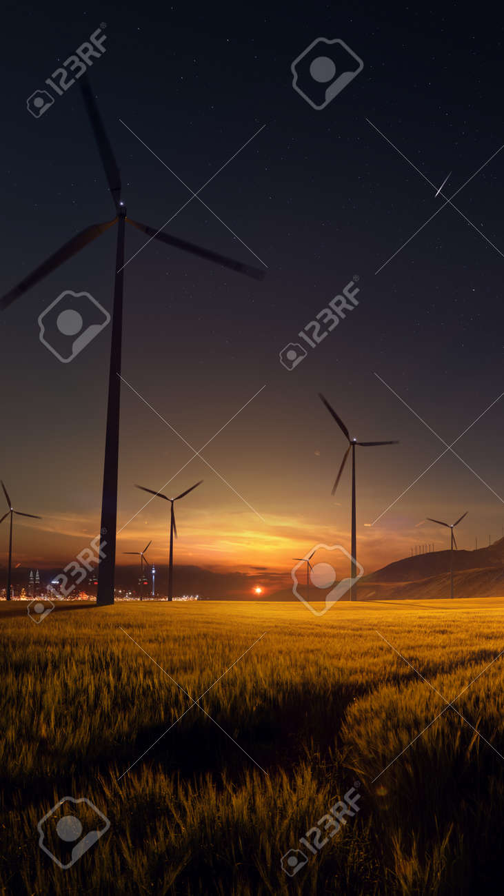 Beautiful sunset field with wind mill generators. big city in background - 158096611