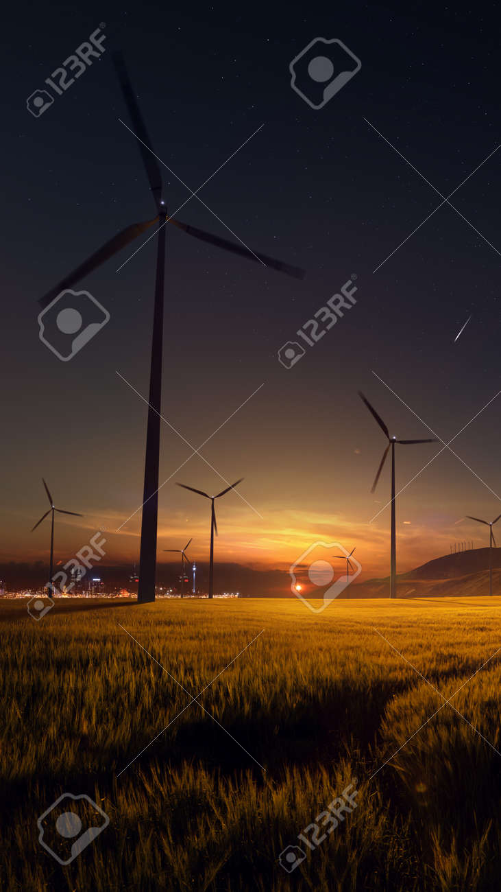 Beautiful sunset field with wind mill generators. big city in background - 158096501