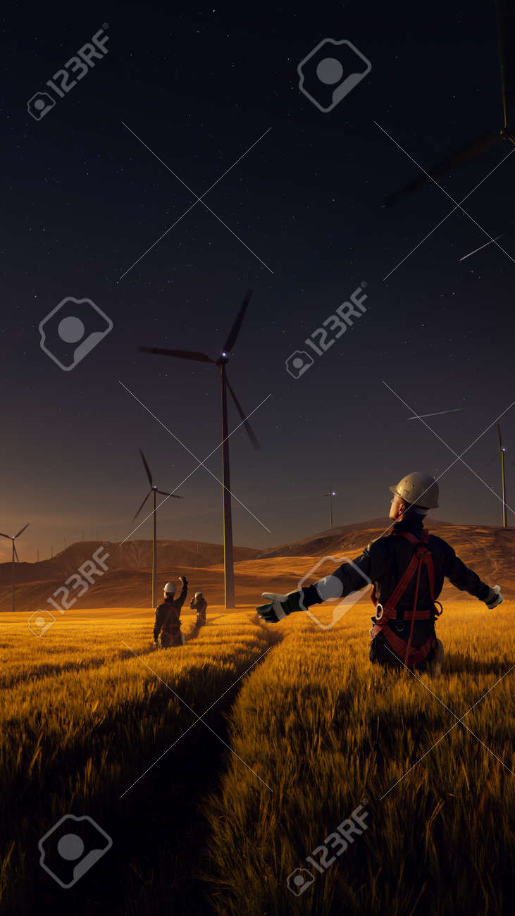 Happy engineer feel success after good work. He standing and looking beautiful sunset landscape - 158096647