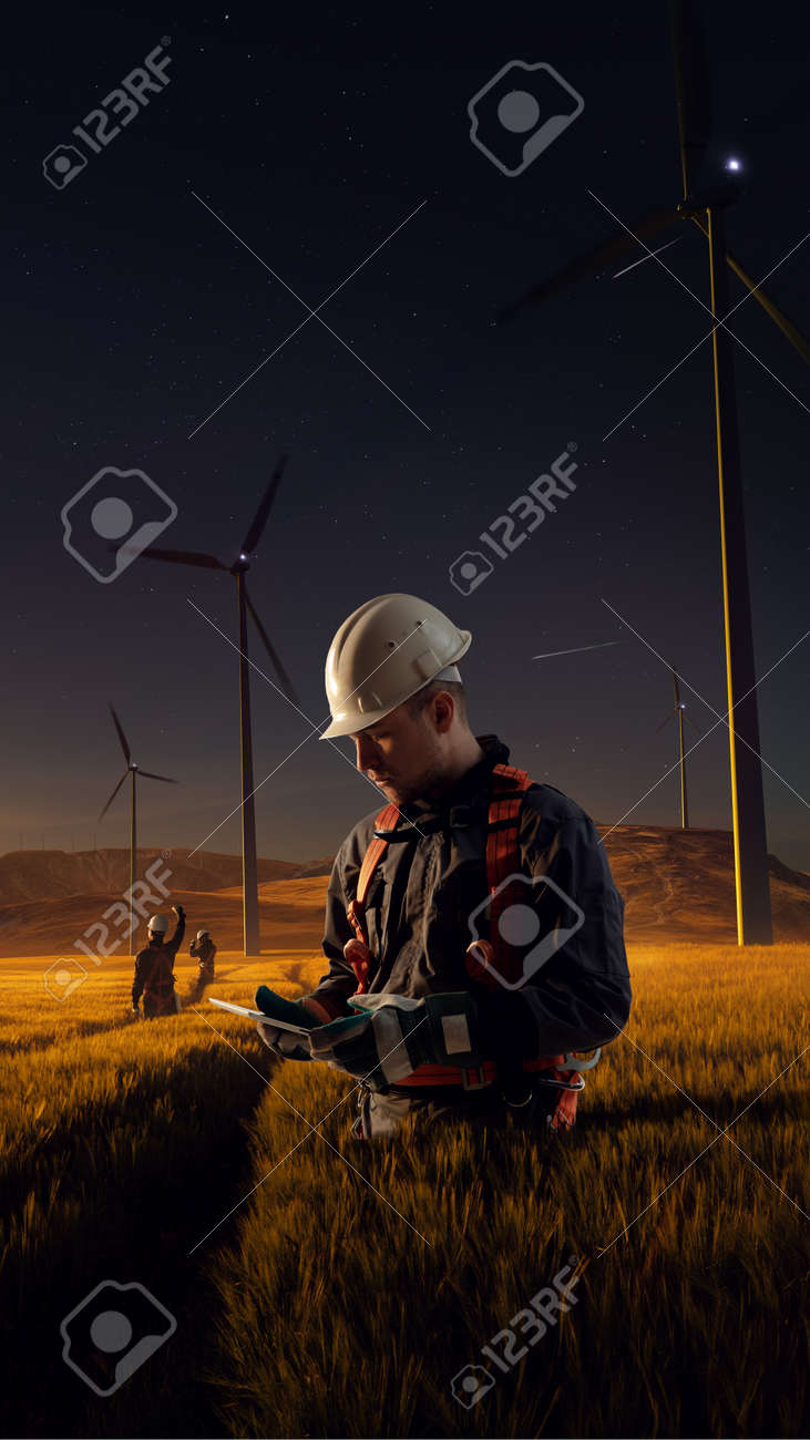 Happy engineer feel success after good work. He standing and looking beautiful sunset landscape - 158239946