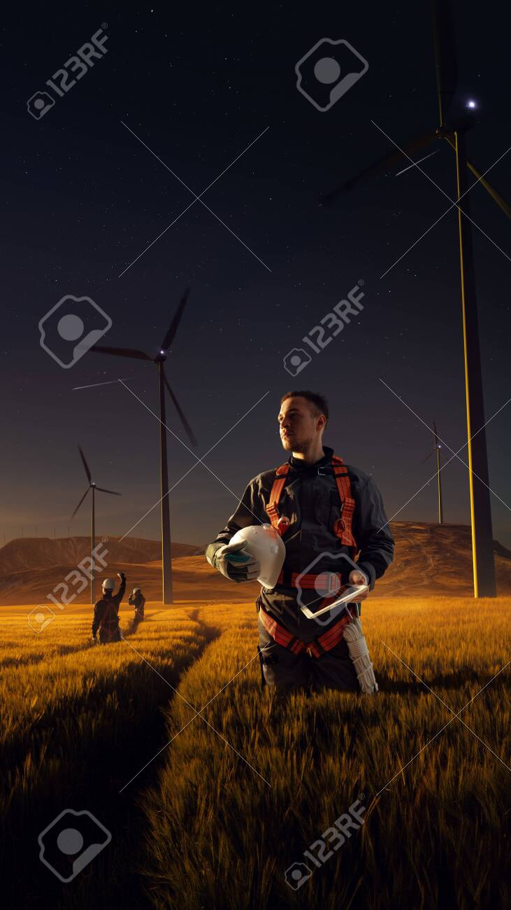 Happy engineer feel success after good work. He standing and looking beautiful sunset landscape - 158239947