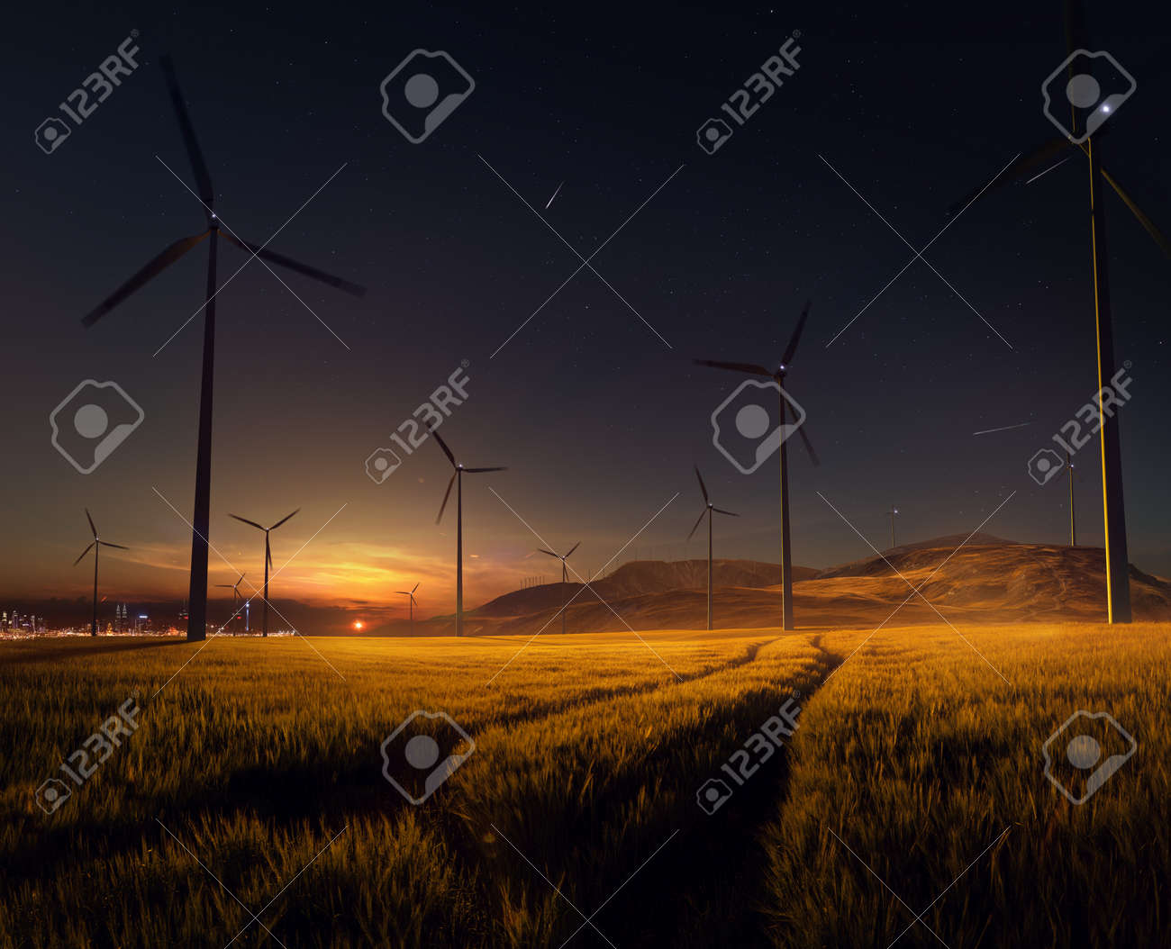 Beautiful sunset field with wind mill generators. big city in background - 158478009