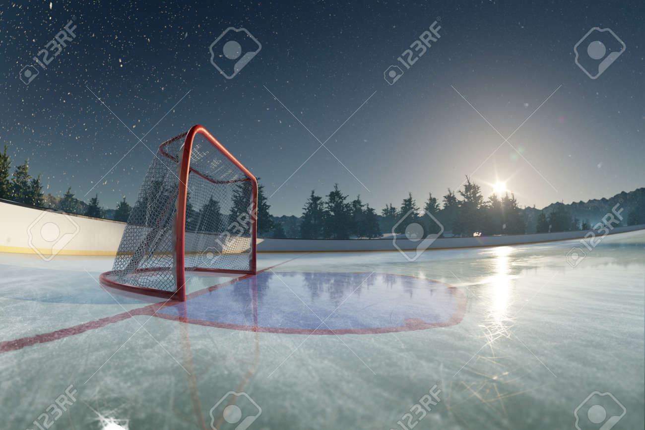 Ice rink arena. around forest and mountains realistic 3d render illustration - 158474705