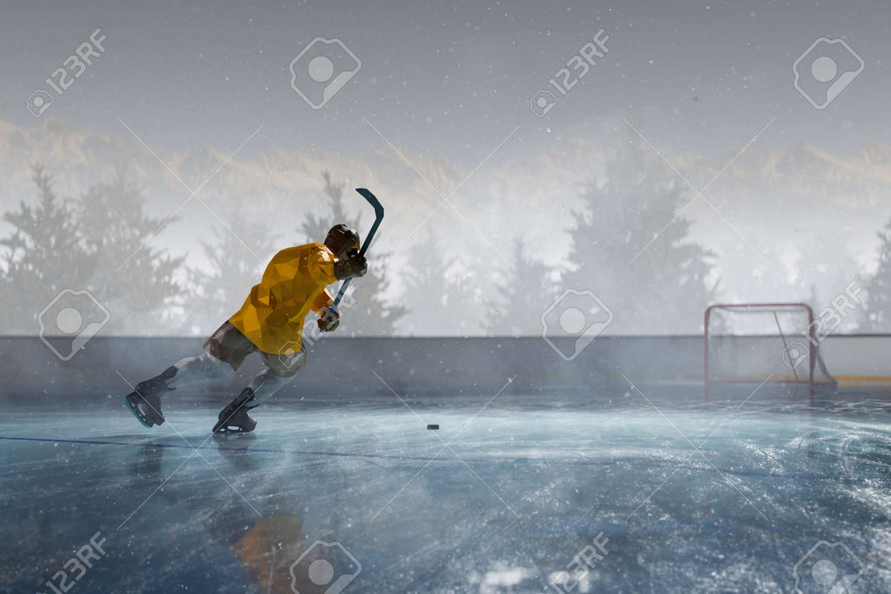 hockey player play in Ice rink arena. around forest and mountains 3d render polygon style - 158627137