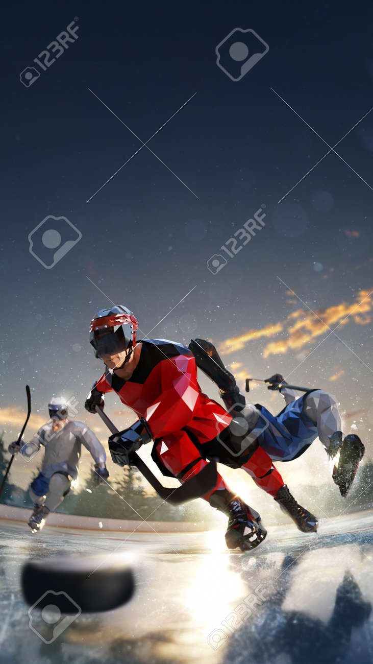 hockey player play in Ice rink arena. around forest and mountains rendering polygon style - 158627139