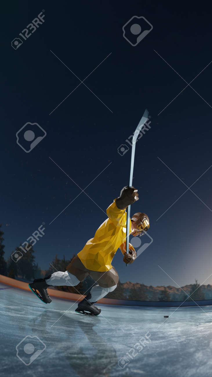 hockey player play in Ice rink arena. around forest and mountains rendering polygon style - 158627142
