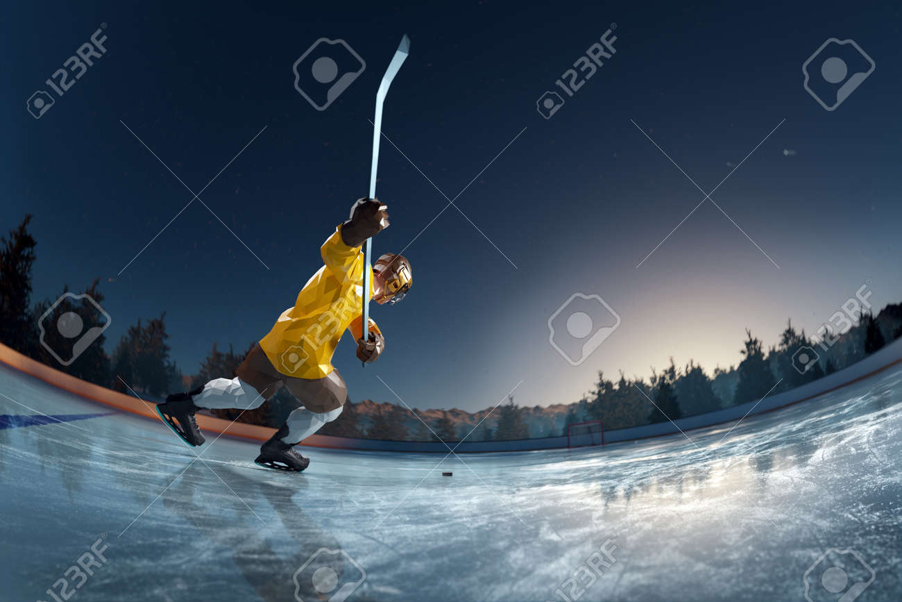 hockey player play in Ice rink arena. around forest and mountains rendering polygon style - 158627143