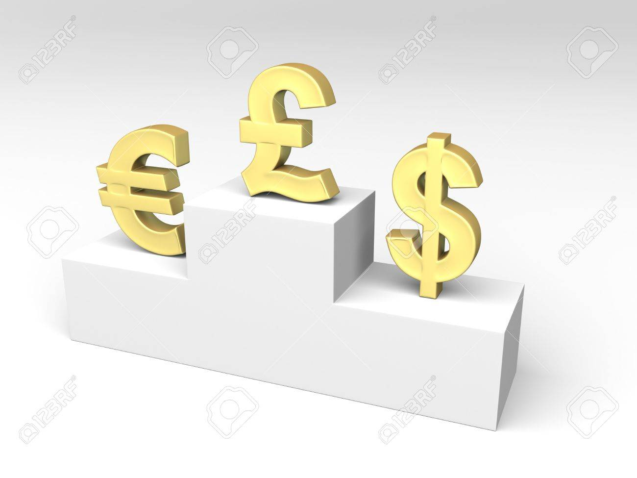Currencies Exchange Rates Shown By Some Currency Symbols Standing