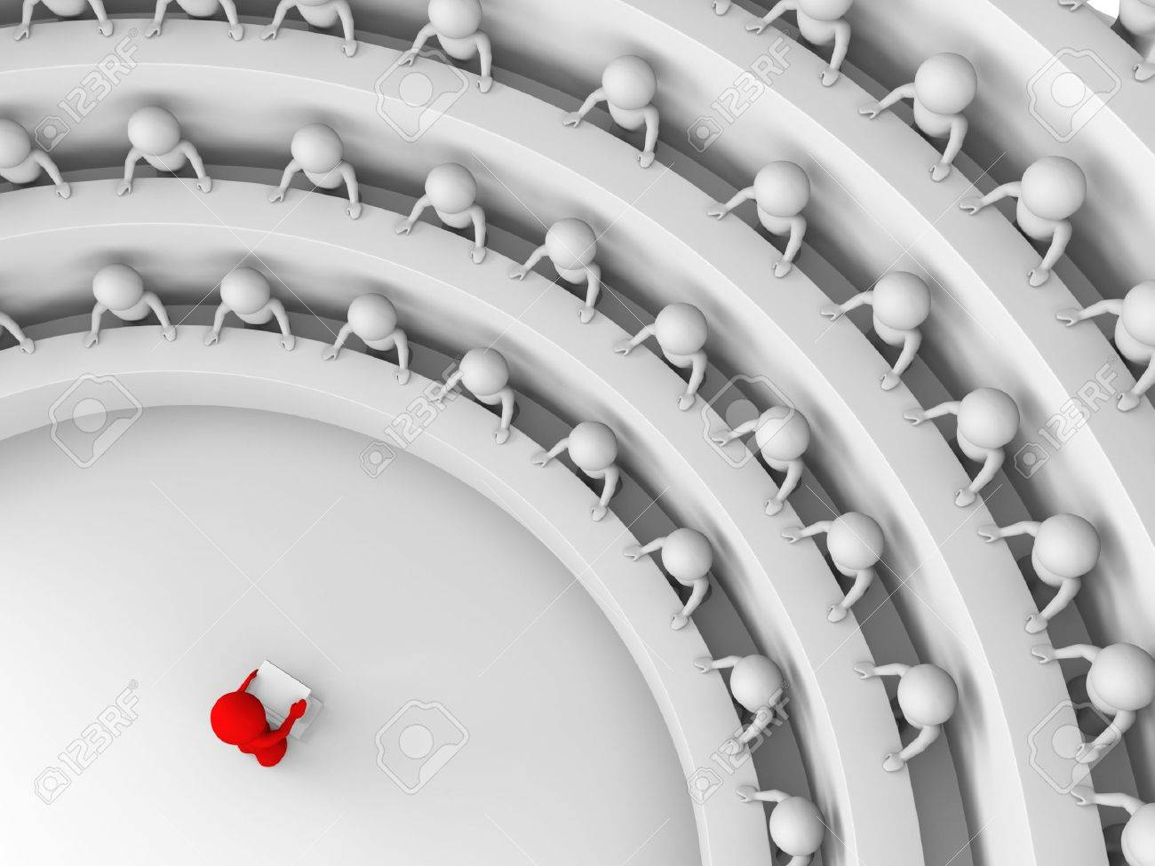 red character standing by a lectern facing an audience of white characters sitting in five levels of tiered seating; view from above; 3d rendering Stock Photo - 4849616