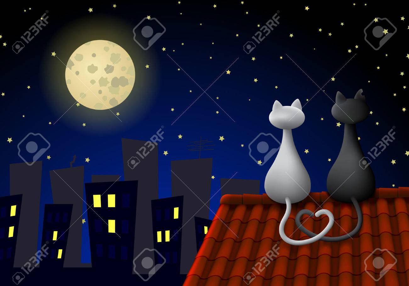 Two cats sitting on a roof at night, looking at the moon. Their tails create a heart. Stock Vector - 5584216