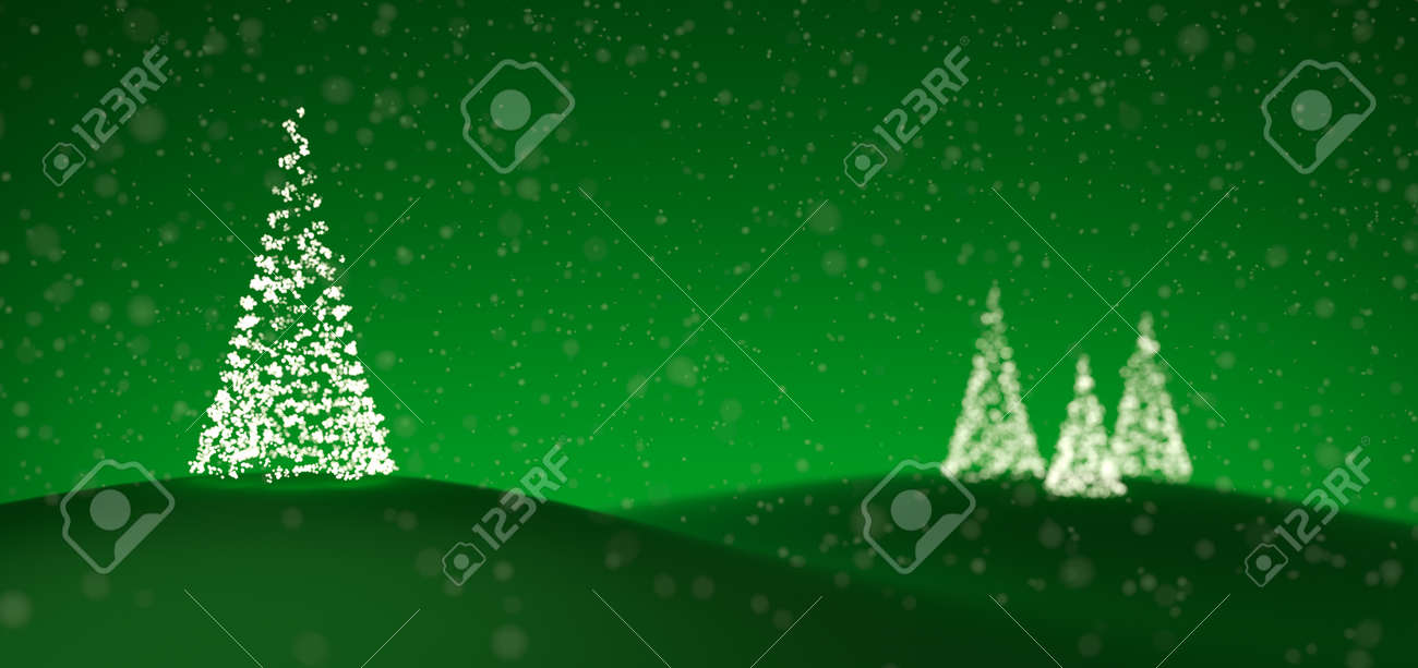 christmas trees made of tiny lights over a green background stock photo 16644104
