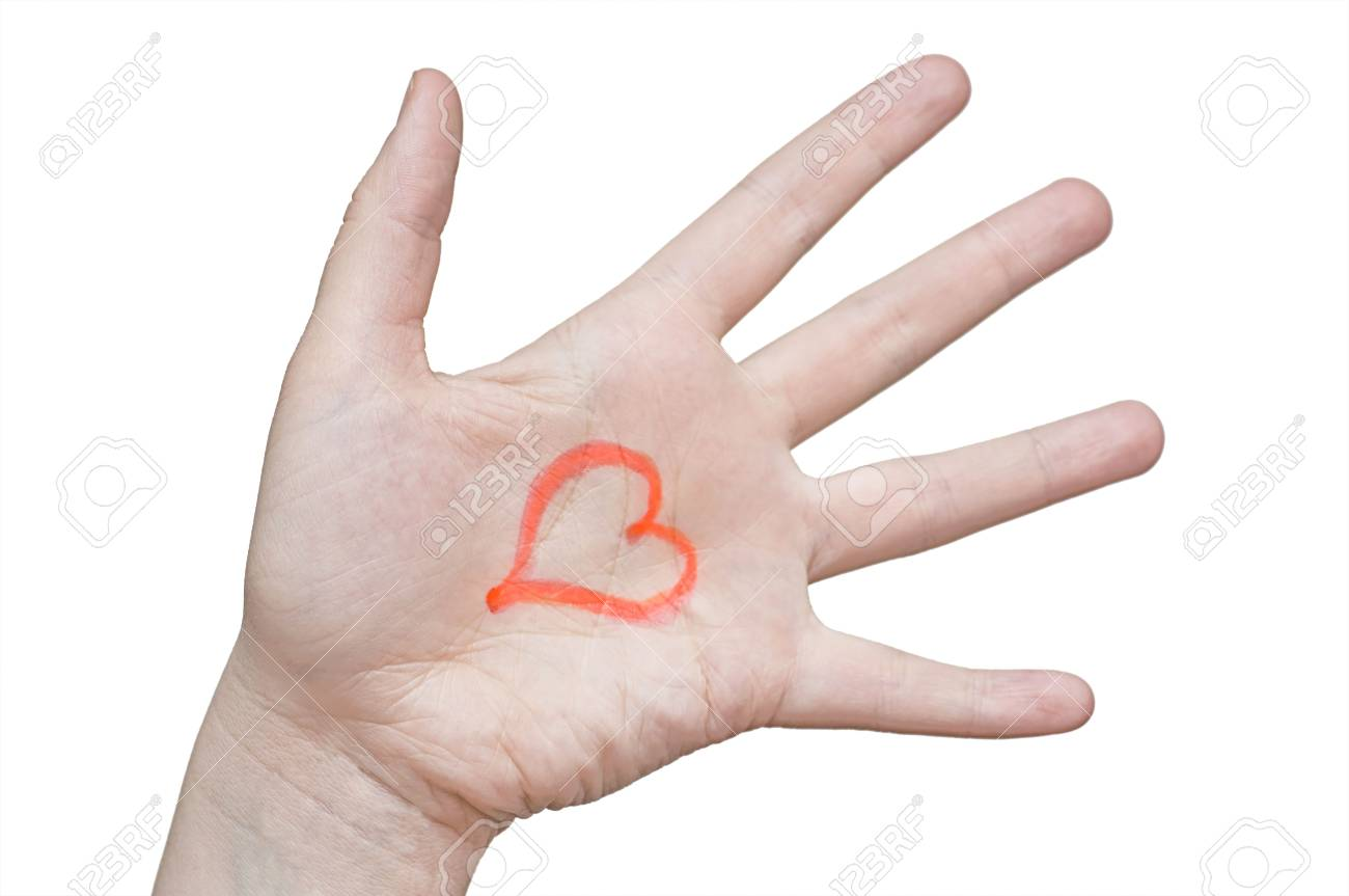 Red heart in hand on a white background Stock Photo - 5498797