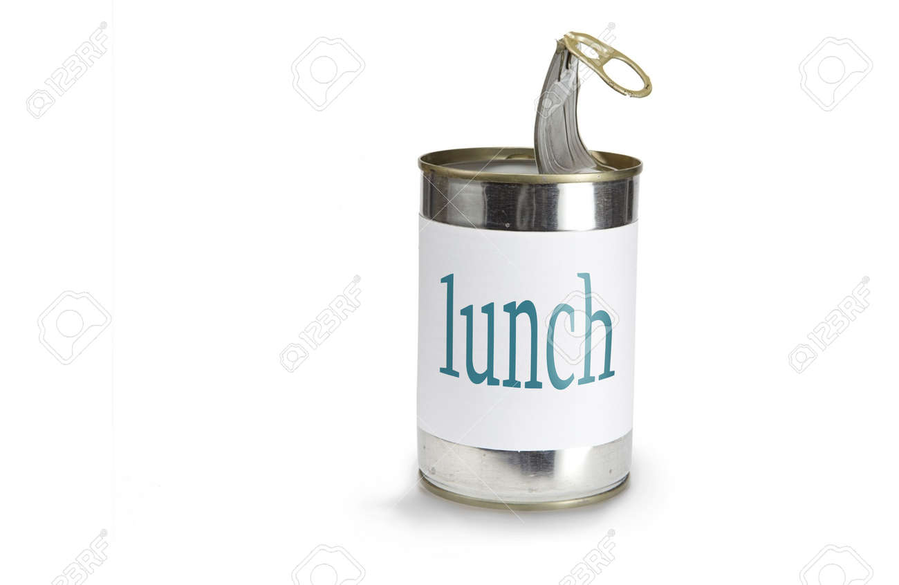 a food can with a lunch label isolated on white Stock Photo - 5892391