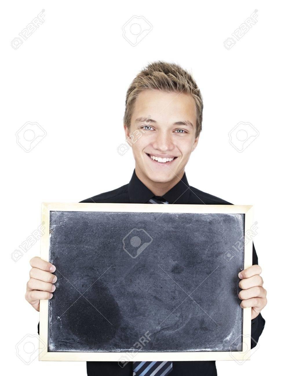 blond Beautiful Caucasian teen boy with blackboard Stock Photo - 6597132