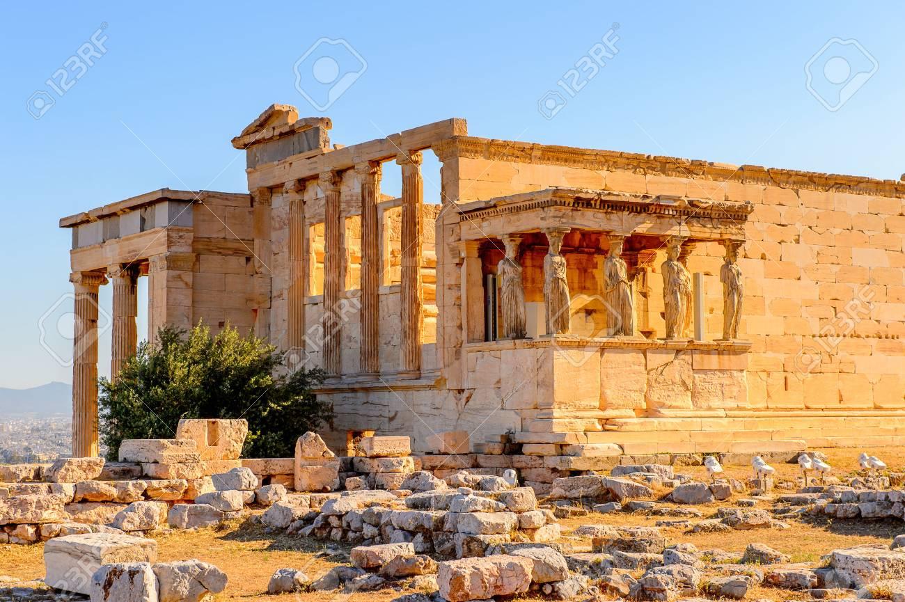 Erechtheion or Erechtheum, A Greek temple dedicated to both Athena and Poseidon. Acropolis of Athens. UNESCO World Hetiage site. - 91622981